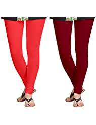 Aannie Women's Cotton Slim Fit Leggings Combo Pack Of 2(Carrot Color,Brownish Red)