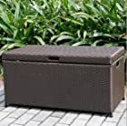 Wicker Lane ORI003-A Outdoor Espresso Wicker Patio Furniture Storage Deck Box