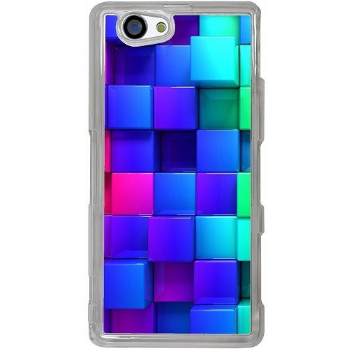 Casotec Blocks Rainbow 3D Graphics Design 2D Hard Back Case Cover for Sony Xperia Z1 Mini / Compact - Clear  available at amazon for Rs.399