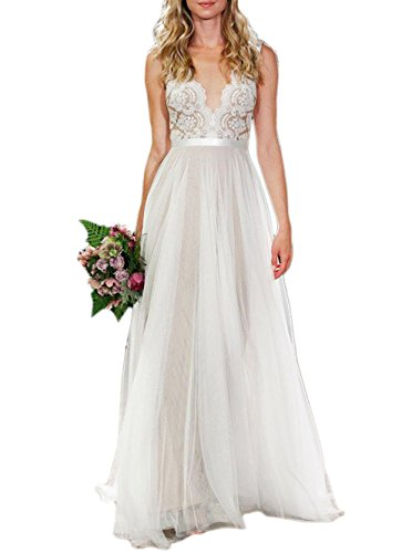 Ikerenwedding Women's V-neck A-line Lace Tulle Long Beach Wedding Dresses for Bride Ivory US10