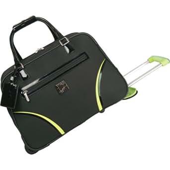 Diane Von Furstenberg Luggage Daisy Wheeled Weekender Bag, Black/Lime, One Size
