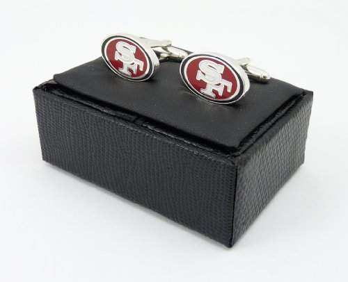 NFL San Francisco 49ers Cut Out Logo Cuff Link, Silver
