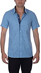 Darzii Men's Casual Shirt (DZ009, Blue Checkered, XL)