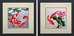 King Silk Art 100% Handmade Embroidery Feng Shui and Money Japanese Koi and Lotus Water Lily Chinese Wildlife Fish Painting Gifts Oriental Asian Wall Art Décor Artwork Hanging Picture Gallery 32010WF+32015WF