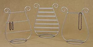 Set of 3 Table-top Display Jewelry Organizers for Hanging Earrings, Bracelets, & Necklaces, Silver