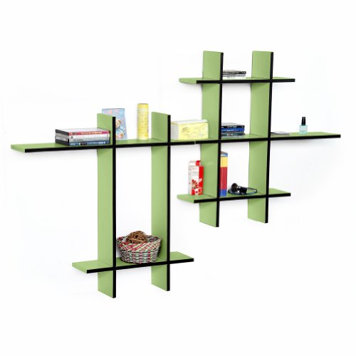 Trista - [Green Valley-Mega] Leather Cross Type Shelf / Bookshelf / Floating Shelf (9 Pcs) front-642744