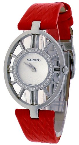 Valentino Vanity Stainless Steel & Diamond Womens Watch Red Leather Band V42SBQ-9102-S800
