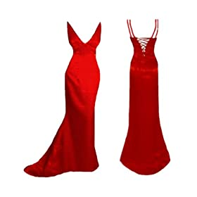 Red Prom Dresses - Golden Embedded Red Dress