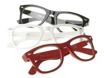 Lot de 3 Paires de Lunettes Monture style Wayfarer Geek Retro Vintage 80's - Monture Noir + Rouge + Blanc - Verre Neutre Transparent - Fashion - Tendance