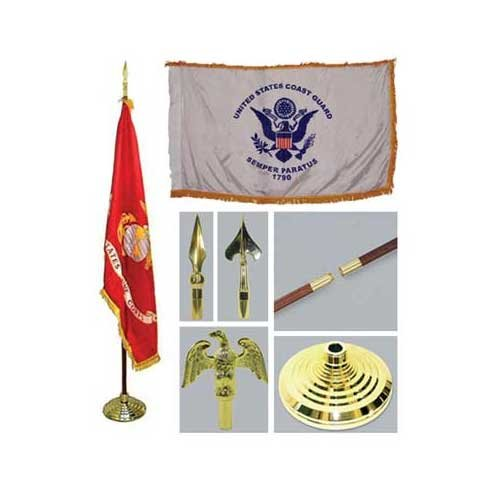 Coast Guard 4Ft X 6Ft Indoor Flag Telescoping Flagpole Base And Tassel