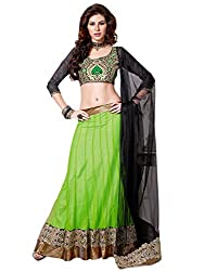 Admyrin women's Net Embroidered Green Lehenga Choli