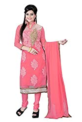 Aarsh Apparel Pink Net Embroidery Aline Semistiched Dress Material