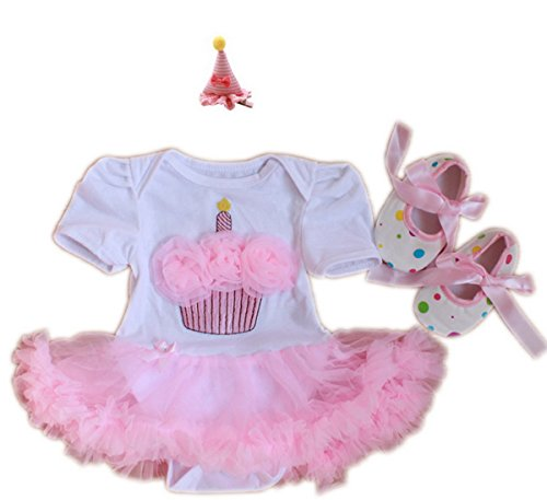 TANZKY® Baby Girls' 3PCS 1st Birthday Tutu Dress Headband Shoes Outfit