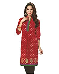 PShopee Red Cotton Unstitched Kurti/Top Material With Bhandej Print