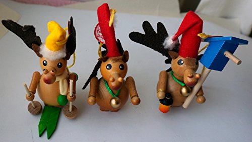 Steinbach Set of 3 Handmade Wood Christmas Ornaments Germany Moose / Reindeer