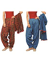 Rama Set Of 2 Printed Blue & Orange Colour Cotton Full Patiala With Dupatta Set