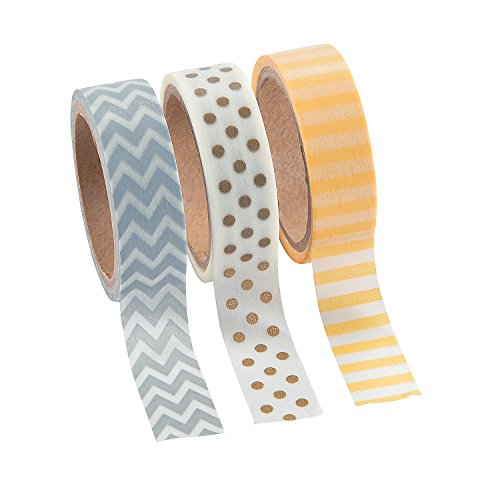 Neutral Washi Tape Set - 16 Ft. of Tape Per Roll (3 Rolls Per Unit) Patterns: Chevron, Polka Dots and Stripes