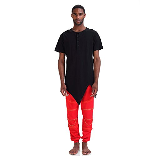 Pizoff Mens Asymmetric Style Unbalance Diagonal Cut Long Zipper Drop T Shirt P3118-black-M (Caps Louis Vuitton compare prices)