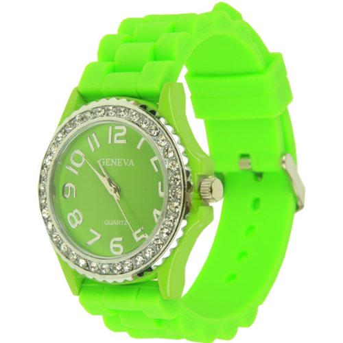 Ceramic Silicone Watch - Lime Green with CZ