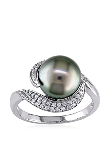Michiko 10K White Gold, Diamond & 9-9.5 mm Tahitian Pearl Ring