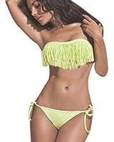 Hee Grand femmes bikini Sexy Maillot de Bain Fendu de Style Tassel Chinois S Jaune