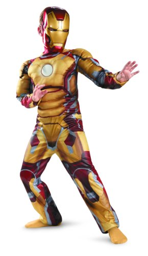 Marvel Iron Man 3 Mark 42 Boys Classic Muscle Costume, 7-8 (Iron Man Kids Costume compare prices)