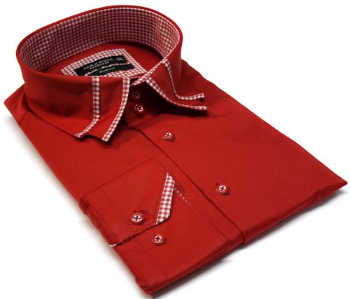 Men's Formal Casual Shirts Designed Collar Red Colour