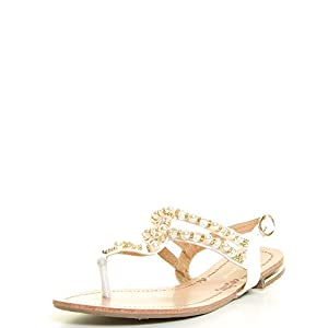 Forever Link Womens Open Toe Thong Ankle T-Strap Faux Pearl Rhinestones Flat Sandals 7.5 White