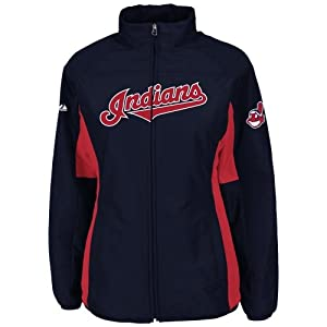 Cleveland Indians Navy Ladies Authentic Double Climate On-Field Jacket by Majestic by Majestic