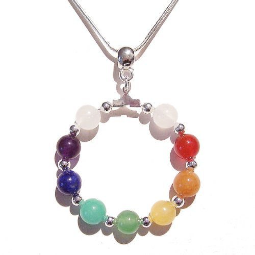 Semi-precious Hoop Chakra / Meditation Pendant - Silver 40mm