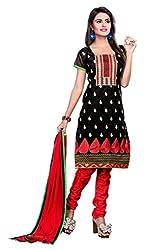 DKS Designers Women's Chanderi Unstitched Dress Material (PARI38808_Black_Free Size)