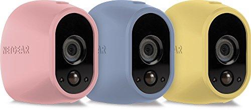 Netgear VMA1200C-10000S Pack de 3 Housses en silicone pour Caméra Arlo Pastelle/Rose/Jaune/Bleu
