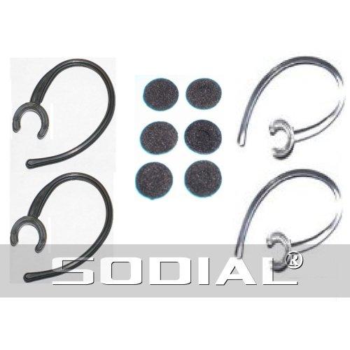 SODIAL(R) Gancio dell'orecchio kit ricambi per cuffie auricolari bluetooth 2 neri e 2 trasparenti clip ( 6 foam buds)