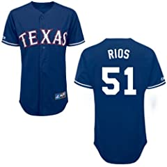 Alex Rios Texas Rangers Alternate Royal Replica Jersey by Majestic by Majestic