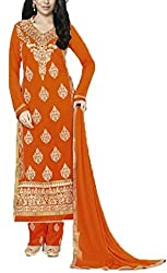 Vivacity Women's Faux Georgette Unstitched Dress Material (Fiona-5186_Rust_Free Size)