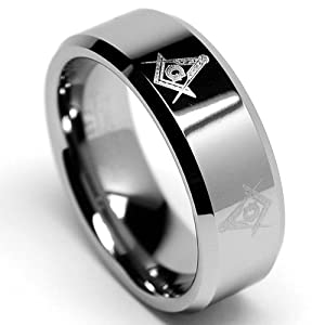 8MM FREEMASON MASONIC Tungsten Carbide Ring Men's Bands Size 11