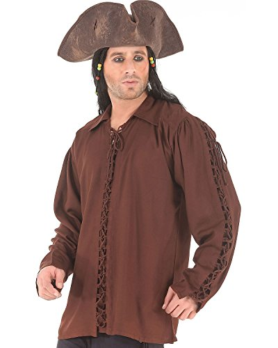 [Medieval Poet's Pirate Renaissance Patrickson Shirt Costume [Chocolate] (large)] (Medieval Shirt Adult Costumes)