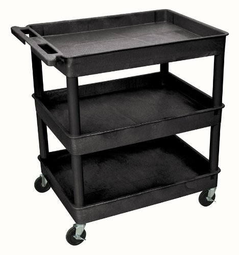 Luxor Tub Utility Cart - 3-Shelf, Black, 400-Lb. Capacity, Model# TC111-B