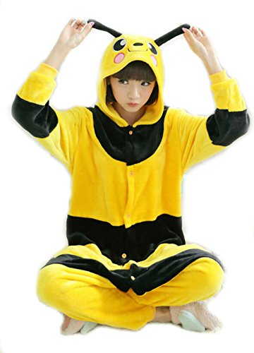 Wjia Winter Adult Cosplay Little Bee Flannel Animal Pajamas