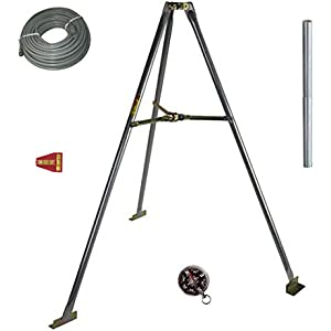 5' FT Tripod Mount Satellite Antenna 2 Mast Pipe Tailgating RV Camping Kit with 75' FT RG6 Cable with Boot Compass