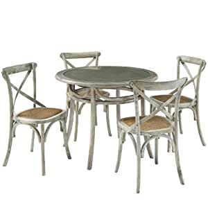 LexMod Gear Rustic Country Wooden Chair and Table Dining Set, Gray