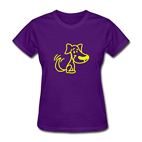 Cute Dog Geek Short-Sleeve Purple Shirts For Girlfriends Size Xs