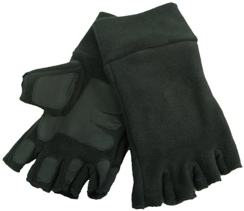 GIZZY® Adults Unisex Extra Warm Thinsulate Black Fleece Fingerless Gloves with Palm and Finger Grip Pads