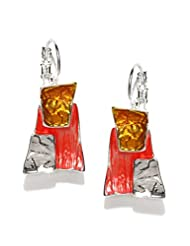 Blisscovered Silver-Toned & Coral Pink Drop Earrings