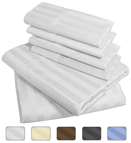 American Pillowcase - Luxury Queen Size Bed Striped Sheet Set - 100% Egyptian Cotton, 540 Thread Count - Deep Pocket With Wrinkle Guard (Color: White) (Queen Size Egyptian Cotton Sheets compare prices)