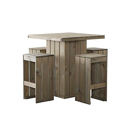 Gardendiscount Danish design party set 100 x 100 cm Gerüstholz Gartenmöbel , Bauholz grey wash gefärbt