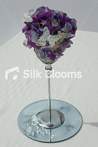 Hortensia Violet Fleur en Cristal de Verre à affichage de table de mariage
