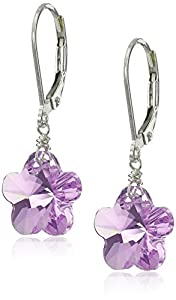 Sterling Silver Swarovski Elements Violet Colored Rounded Star Earrings