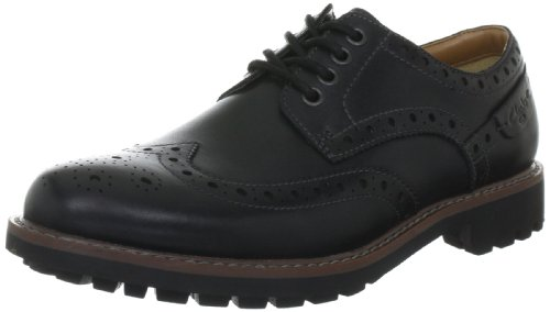 Clarks Montacute Wing 203510927, Scarpe stringate basse uomo, Nero (Schwarz (Black Leather)), 42.5