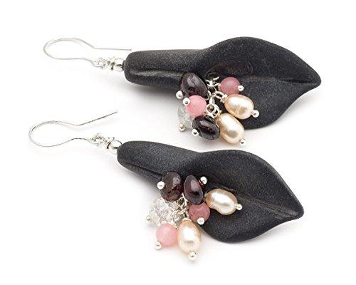 black-matte-onyx-calla-lily-cluster-gemstone-sterling-silver-925-flower-earrings